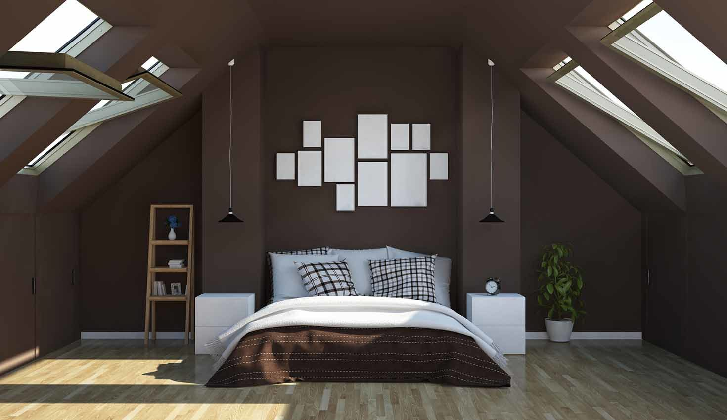 chocolate color bedroom on attic 3d rendering